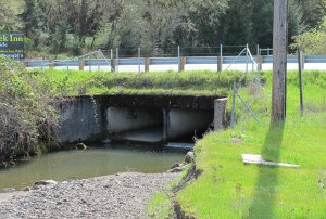 The current Upp Creek culvert on Route 101 which will be removed.